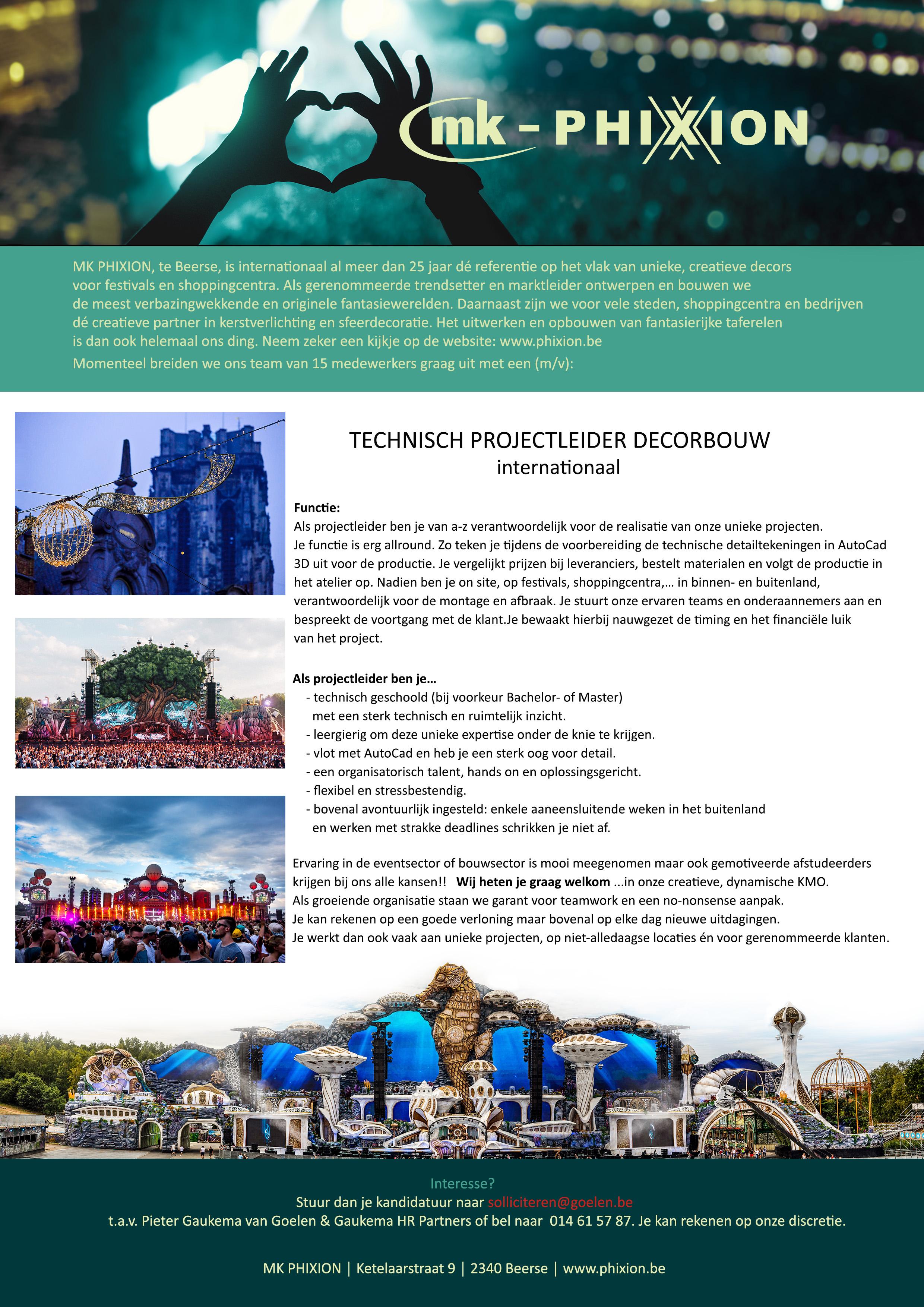 Vacature Technisch projectleider decorbouw (m/v/)